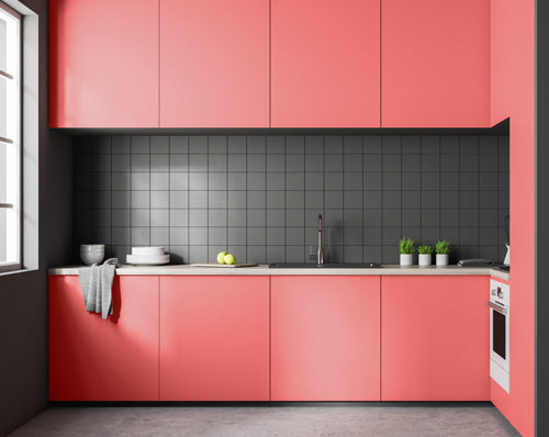 Coral kitchen block colour