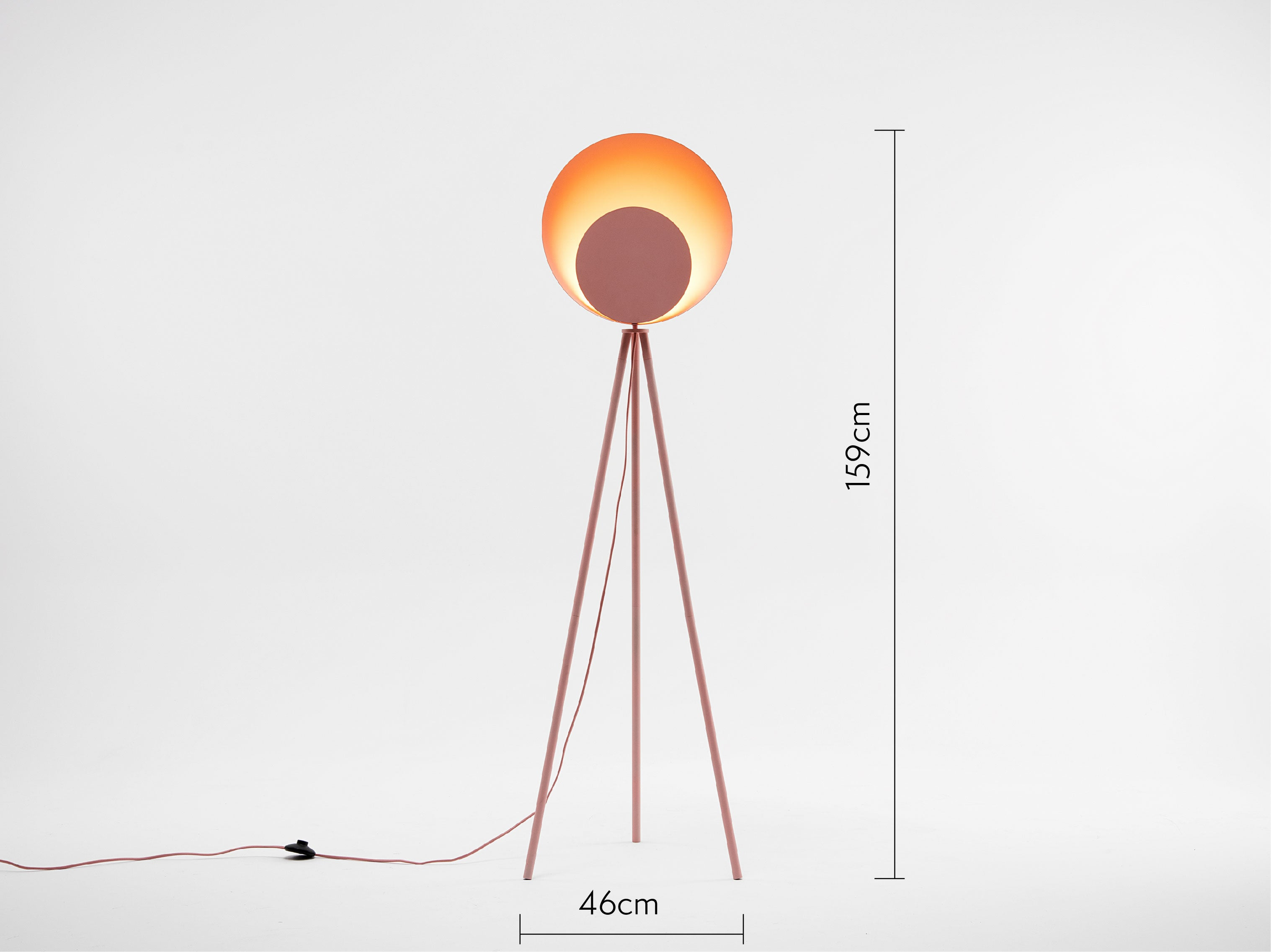 houseof diffuser floor lamp in pink with dimensions
