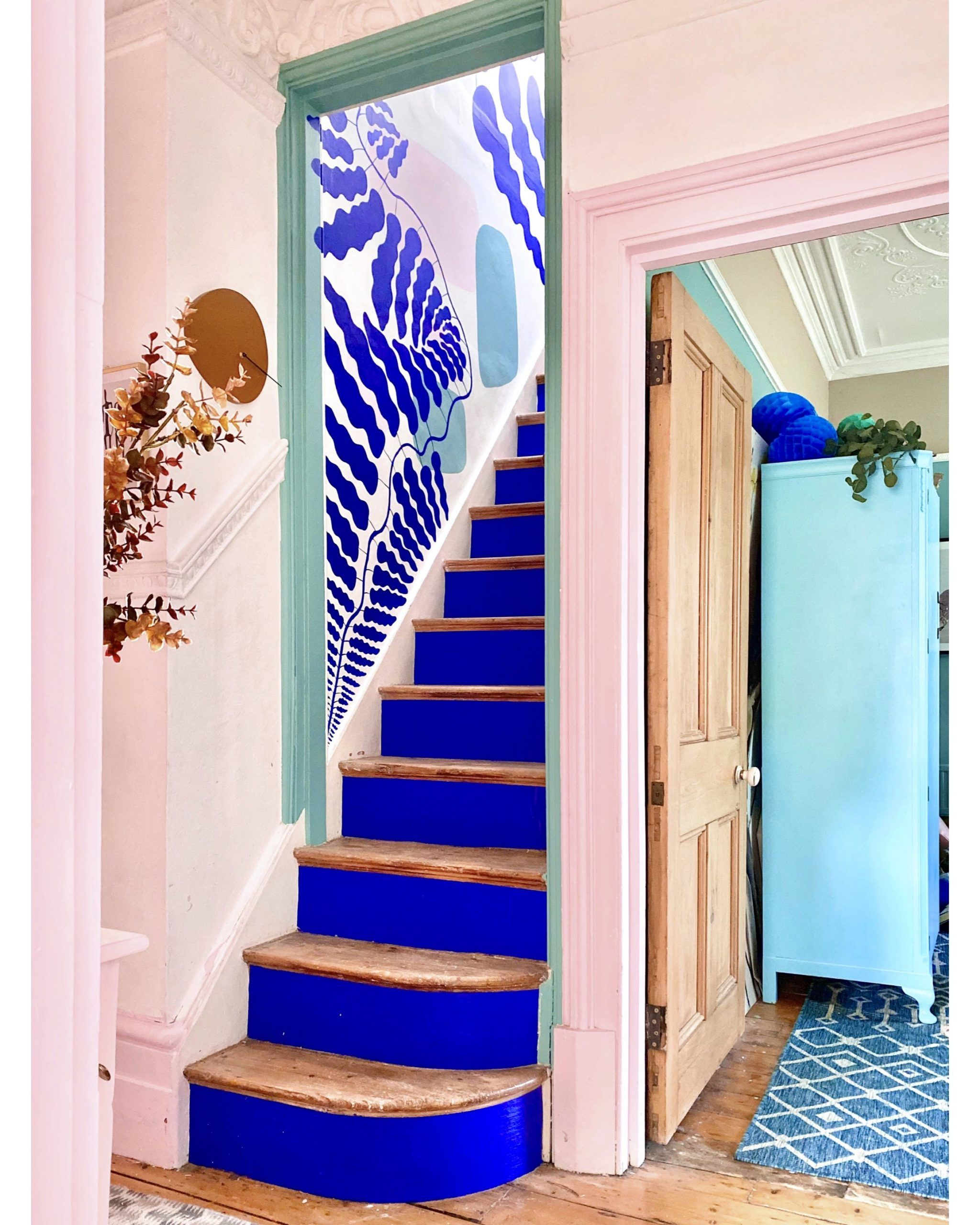 blue staircase | houseof | staircase lighting ideas