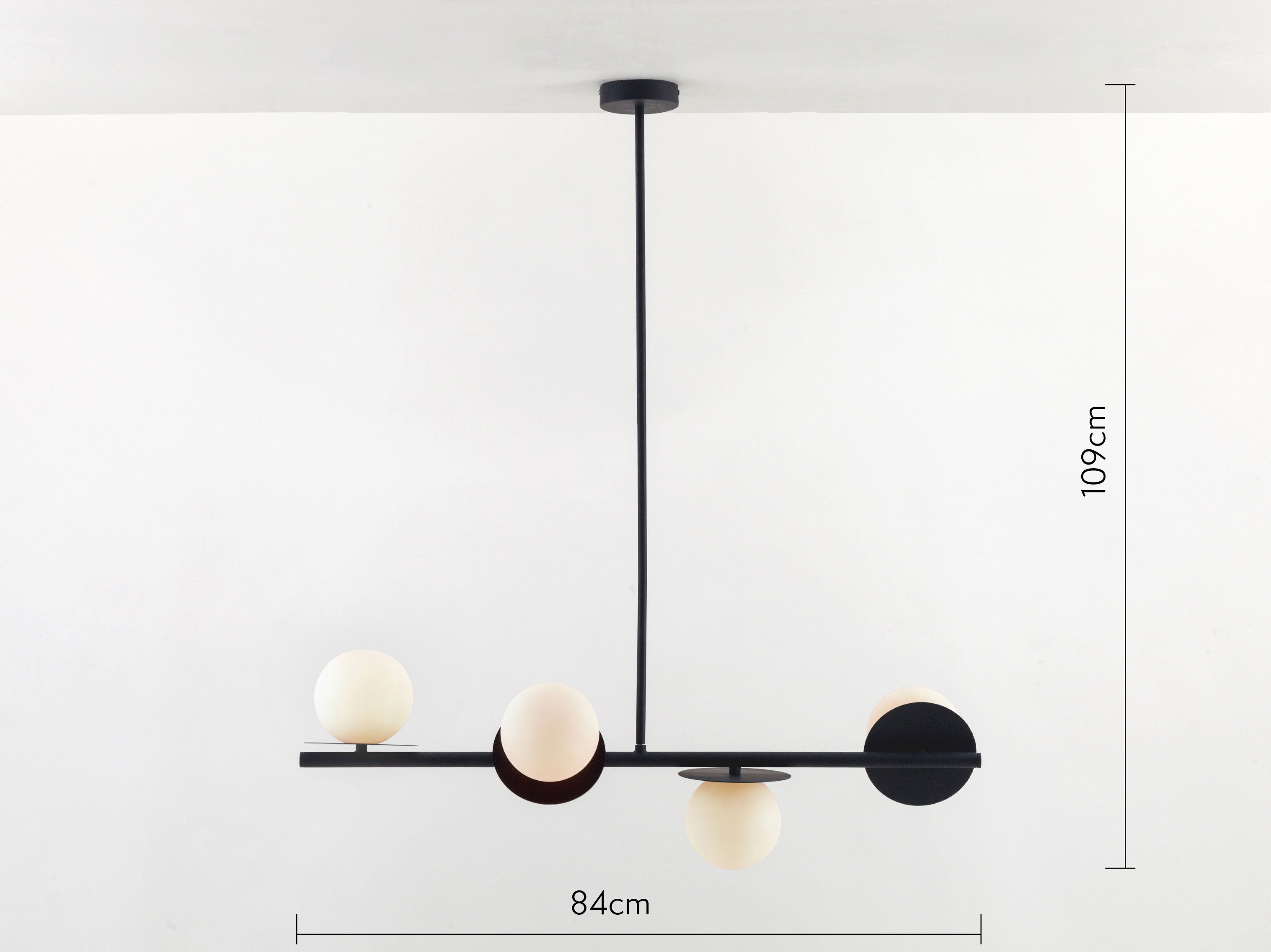 Opal disk ceiling light in charcoal with measurements