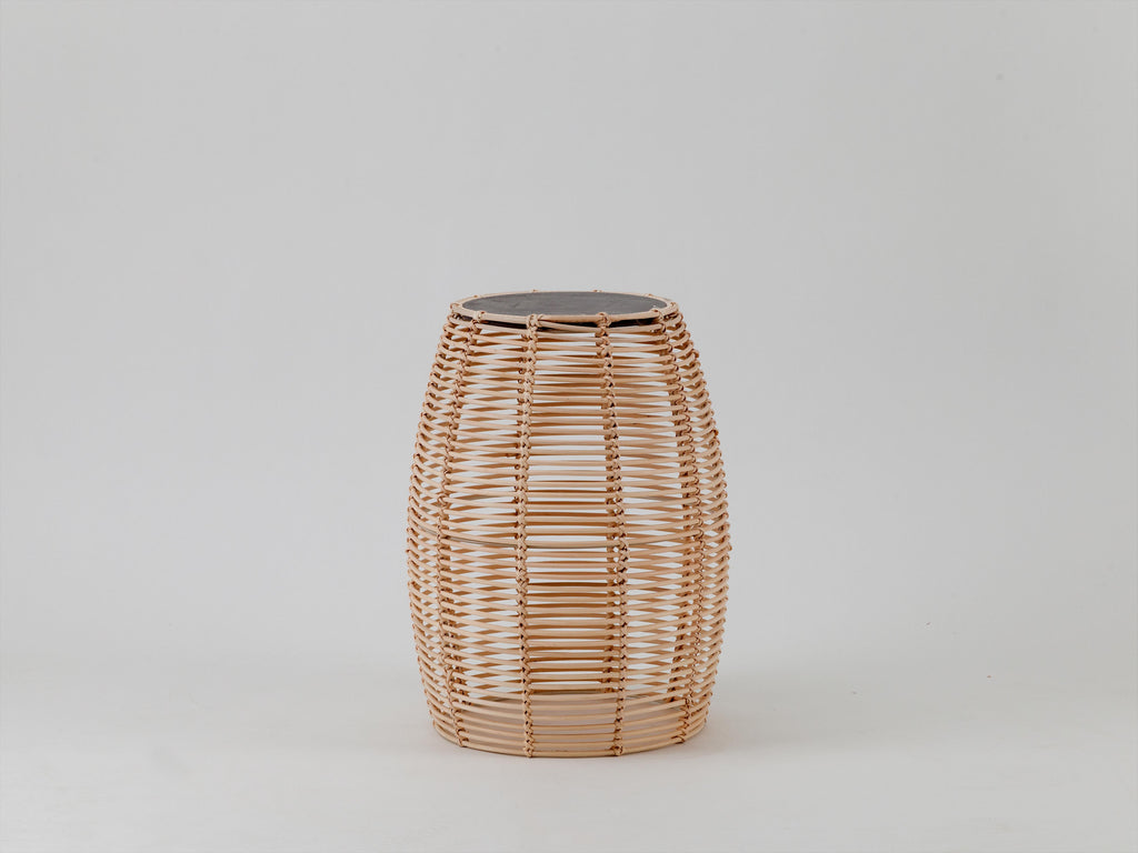 Rattan and concrete side table | natural | houseof.com