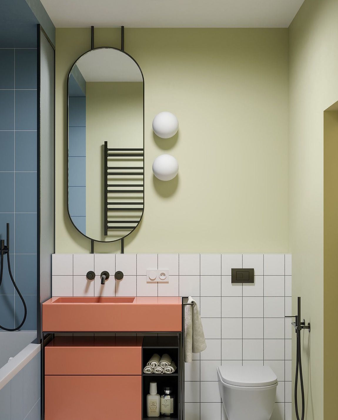 Paired bathroom wall lights in multi coloured bathroom
