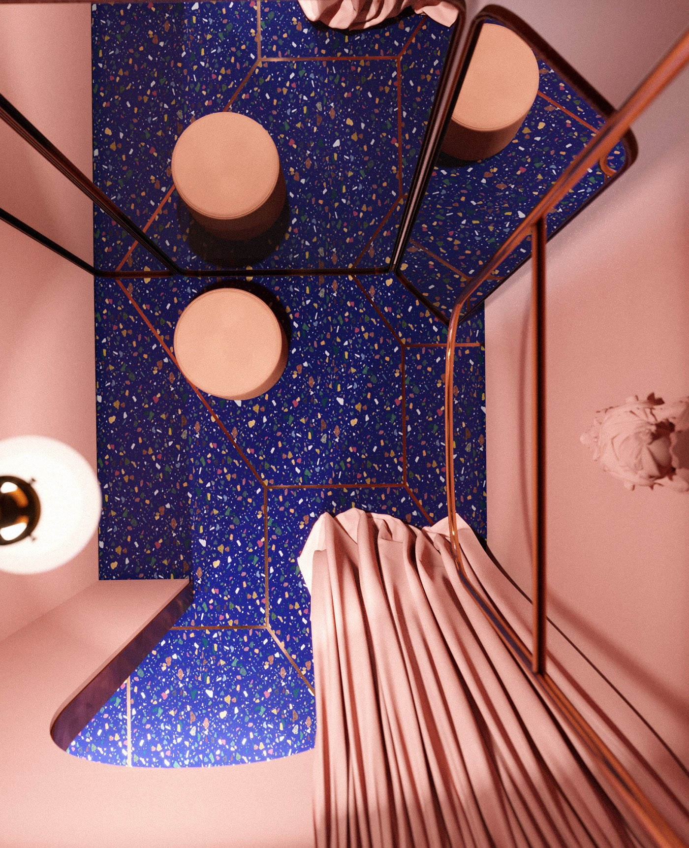 Terazzo floor | changing room | pink and blue