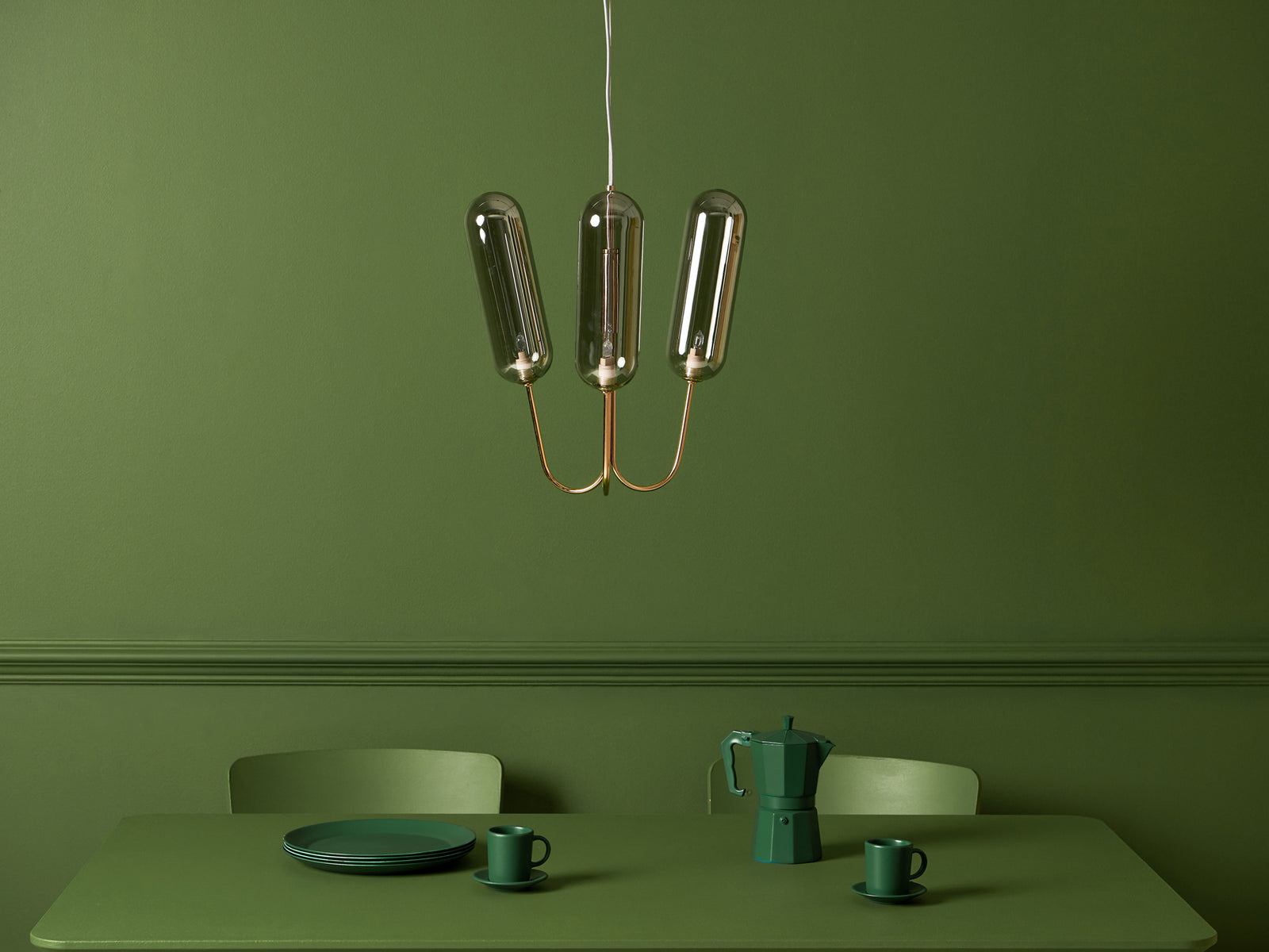 3 Light pill chandelier copper | context | houseof.com