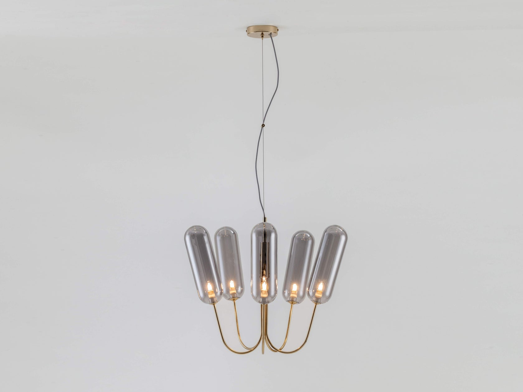 5 light pill chandelier brass | on | houseof.com