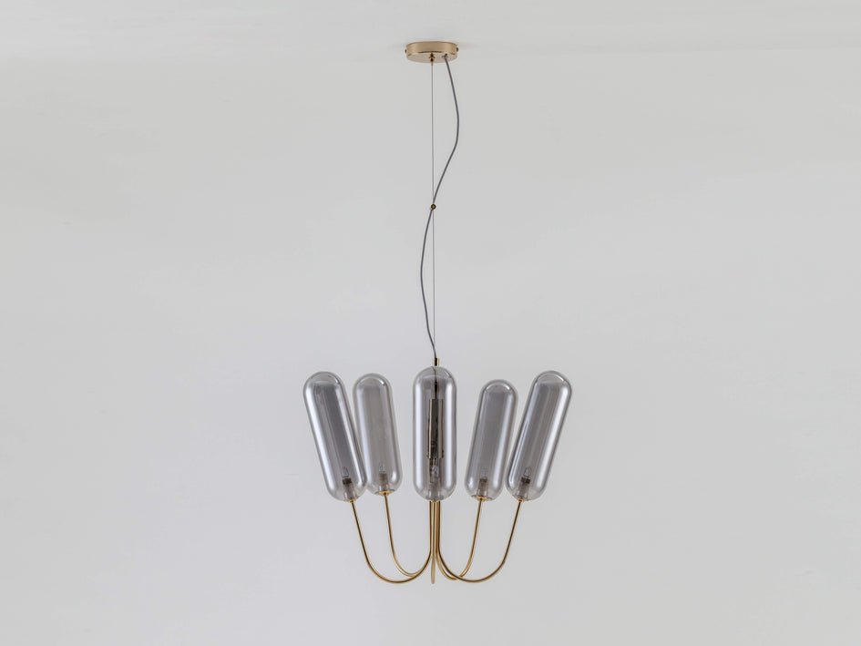 5 light pill chandelier brass | off | houseof.com