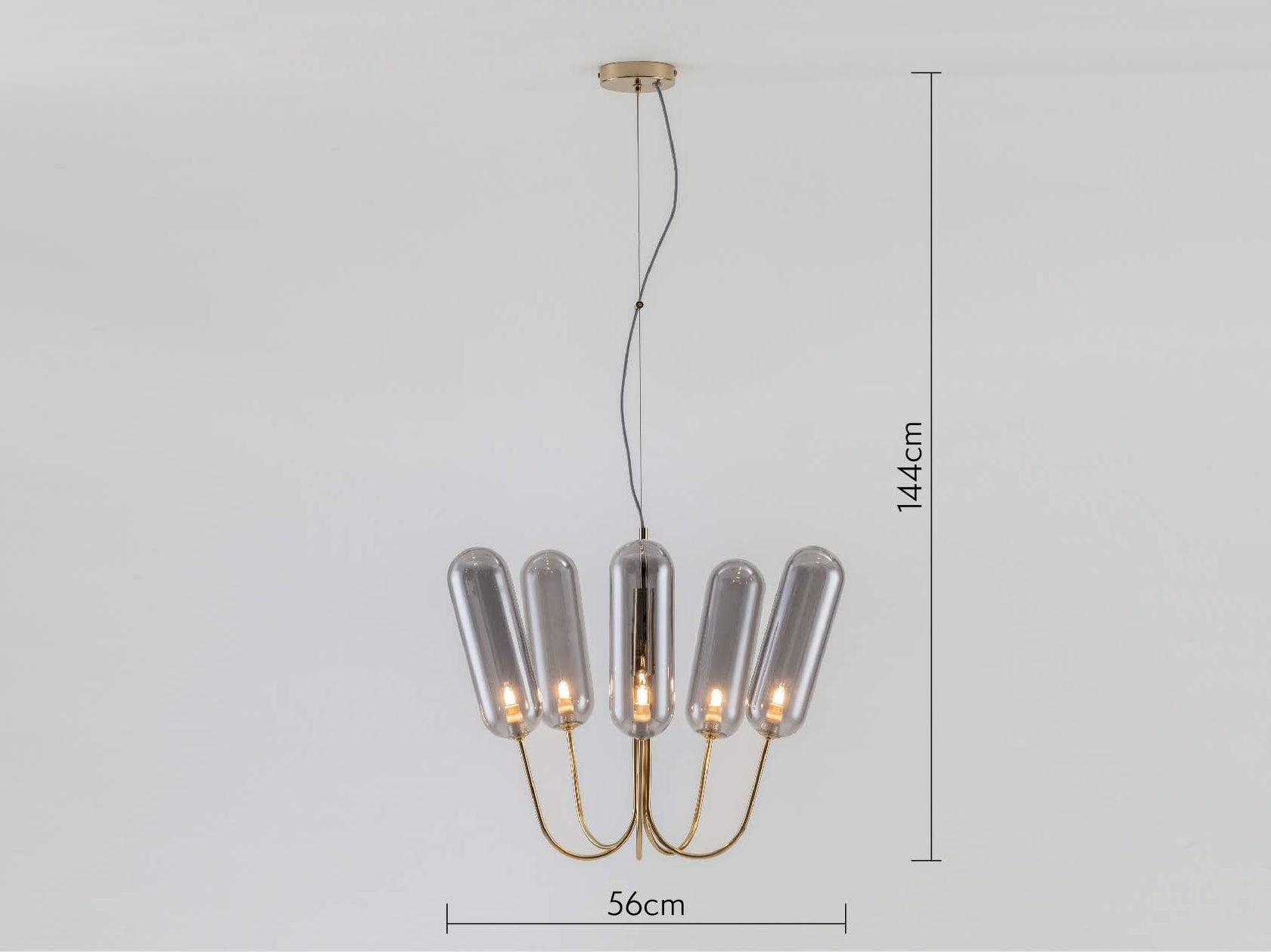 5 light pill chandelier brass | dimensions | houseof.com