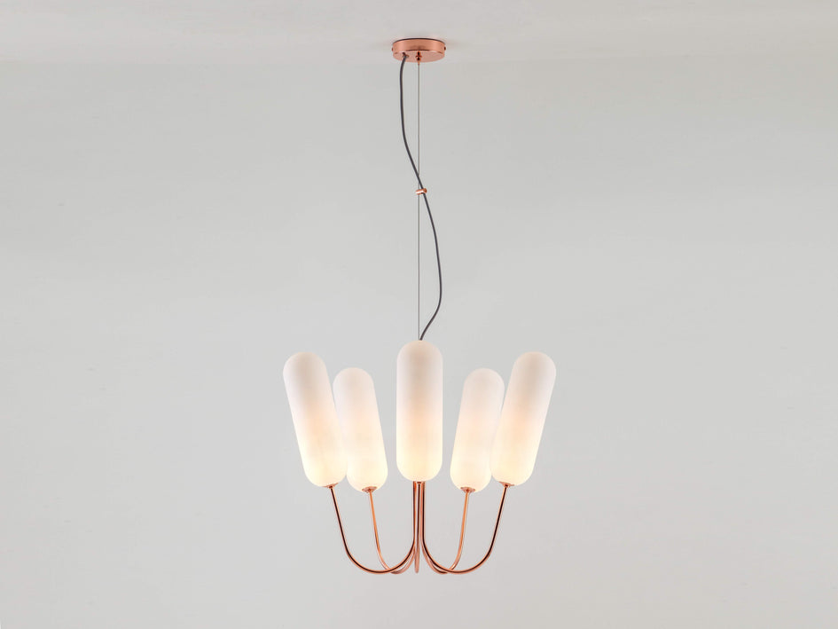 5 light pill chandelier copper | on | houseof.com