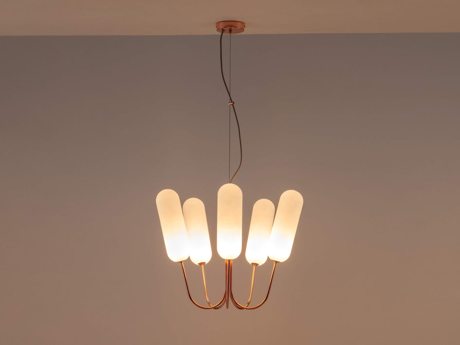 5 light pill chandelier copper | dark | houseof.com