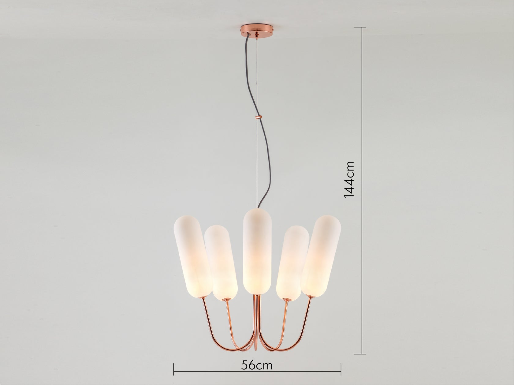 5 light pill chandelier copper | dimesions | houseof.com