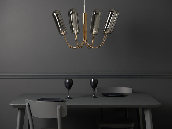 8 Light pill chandelier brass | context | houseof.com