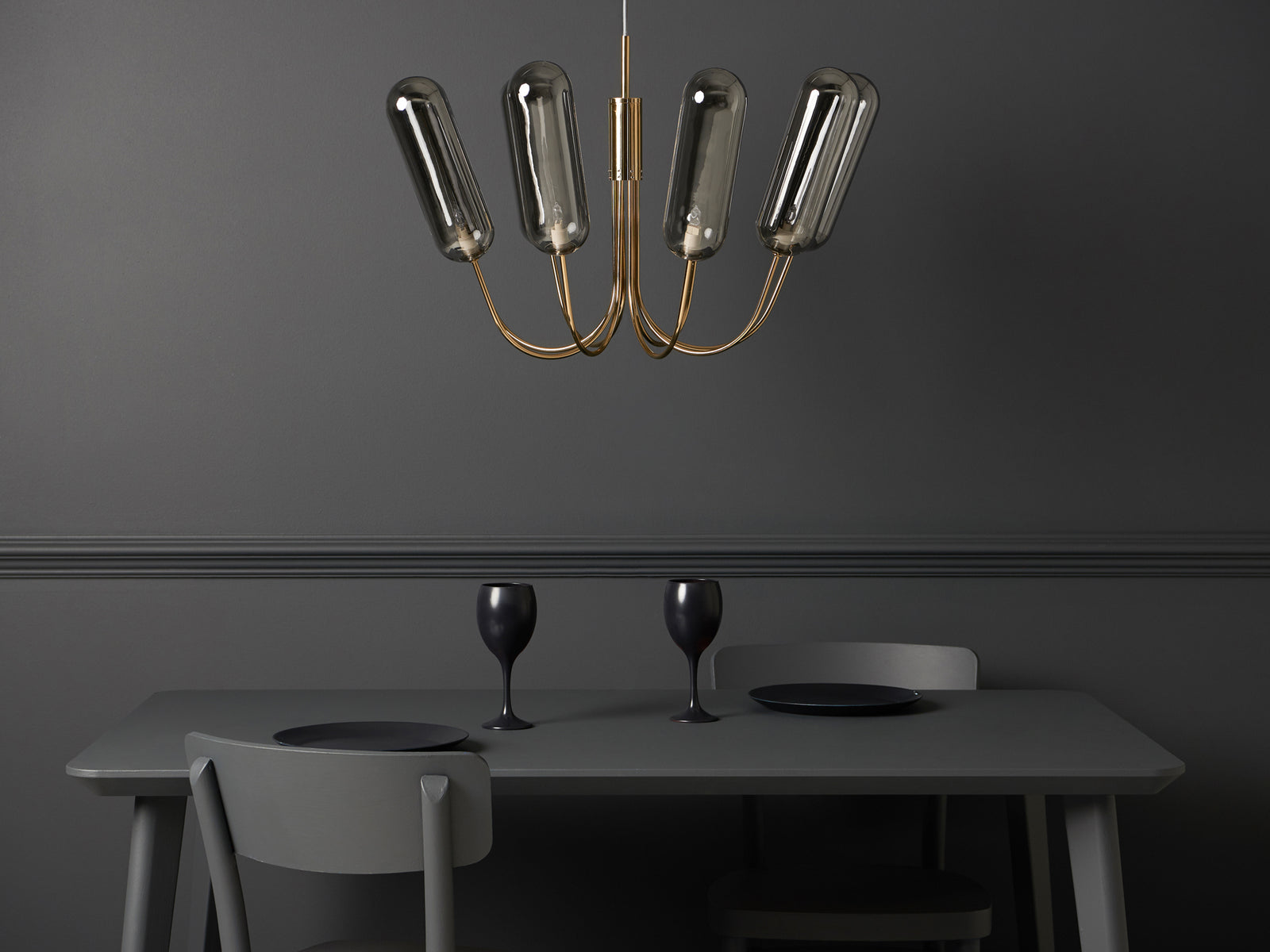 8 Light pill chandelier copper | context | houseof.com