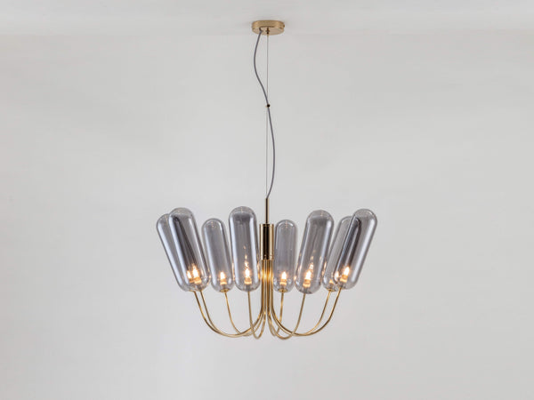 8 Light pill chandelier brass | on | houseof.com