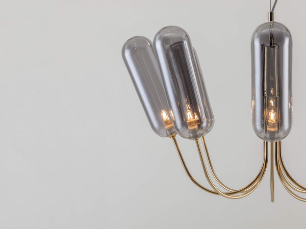 8 Light pill chandelier brass | shade | houseof.com