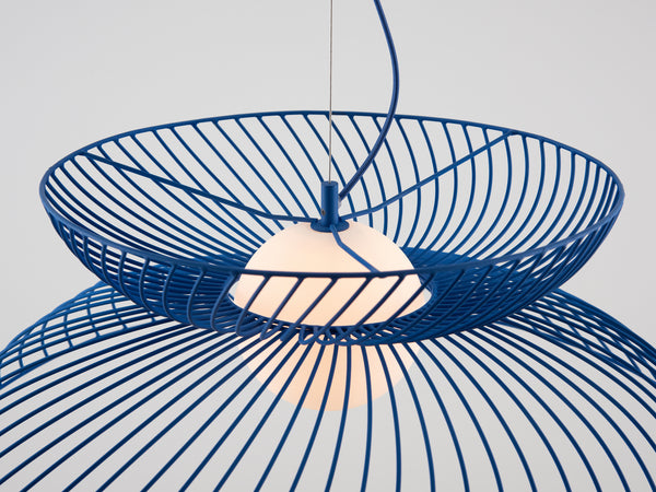 Cage pendant ceiling light blue | zoom | houseof.com