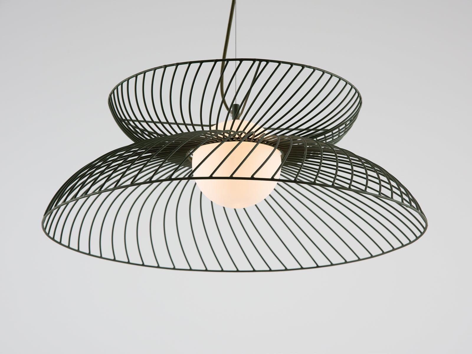 Cage pendant ceiling light olive | zoom | houseof.com