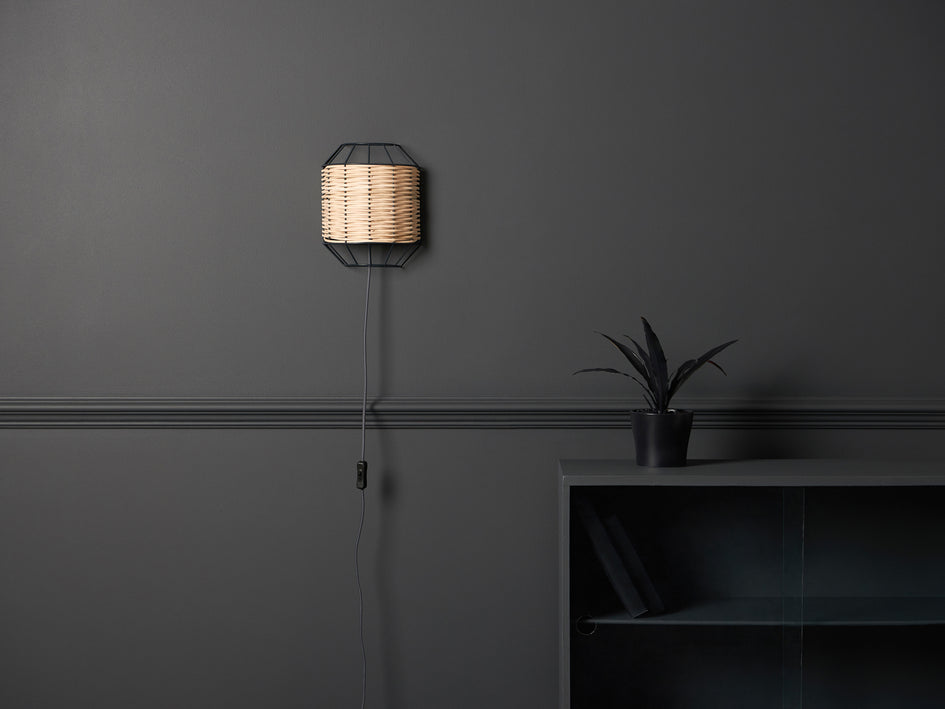 Rattan wall light olive | context | houseof.com