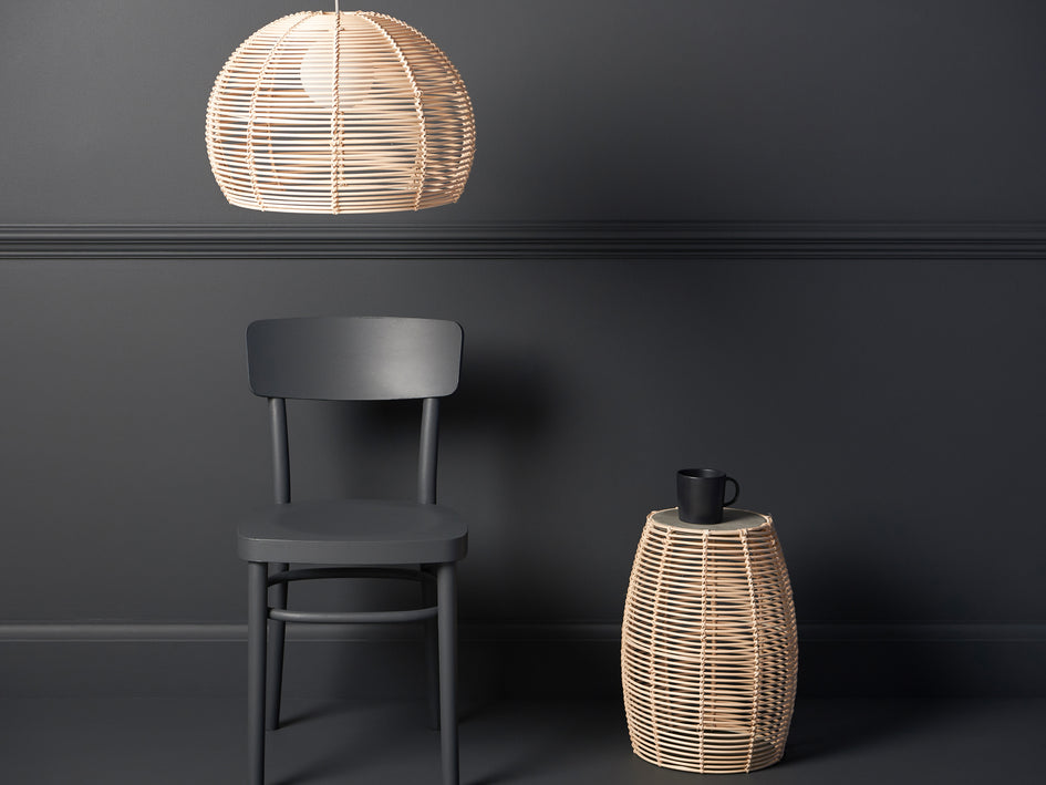 Rattan and concrete side table natural | context | houseof.com