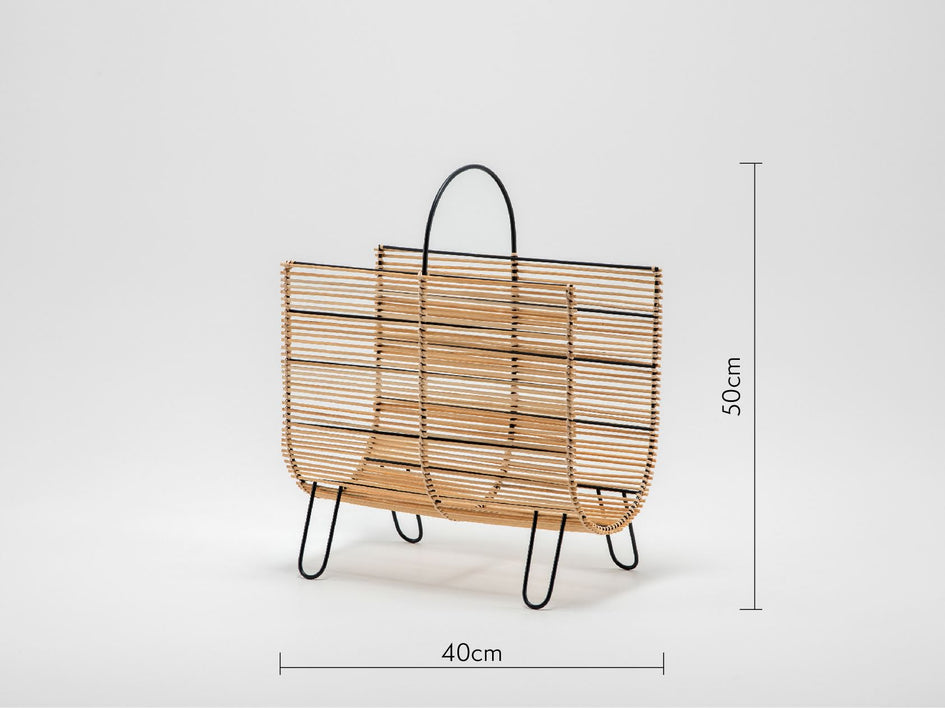 Rattan magazine rack natural | dimensions | houseof.com