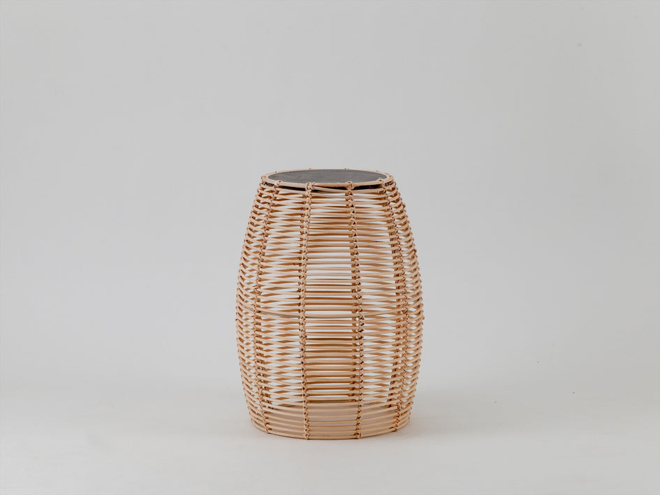 Rattan and concrete side table natural | side | houseof.com