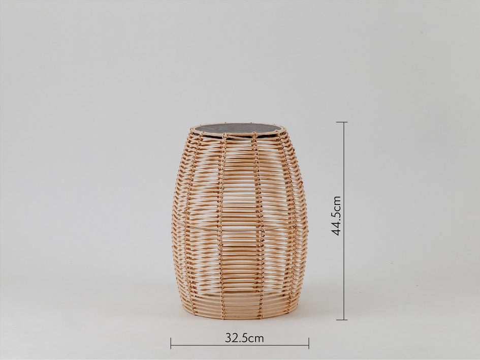 Rattan and concrete side table natural | dimension | houseof.com