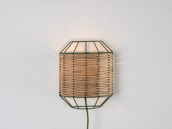 Rattan wall light olive | on | houseof.com