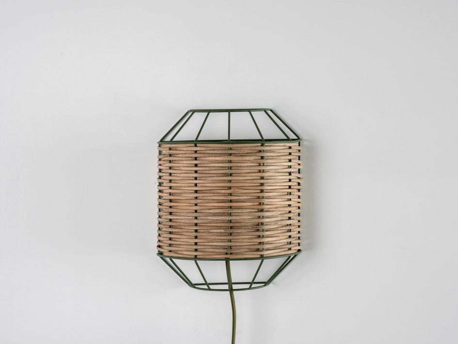 Rattan wall light olive | off | houseof.com