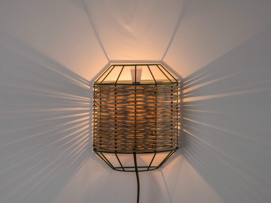 Rattan wall light olive | dark | houseof.com
