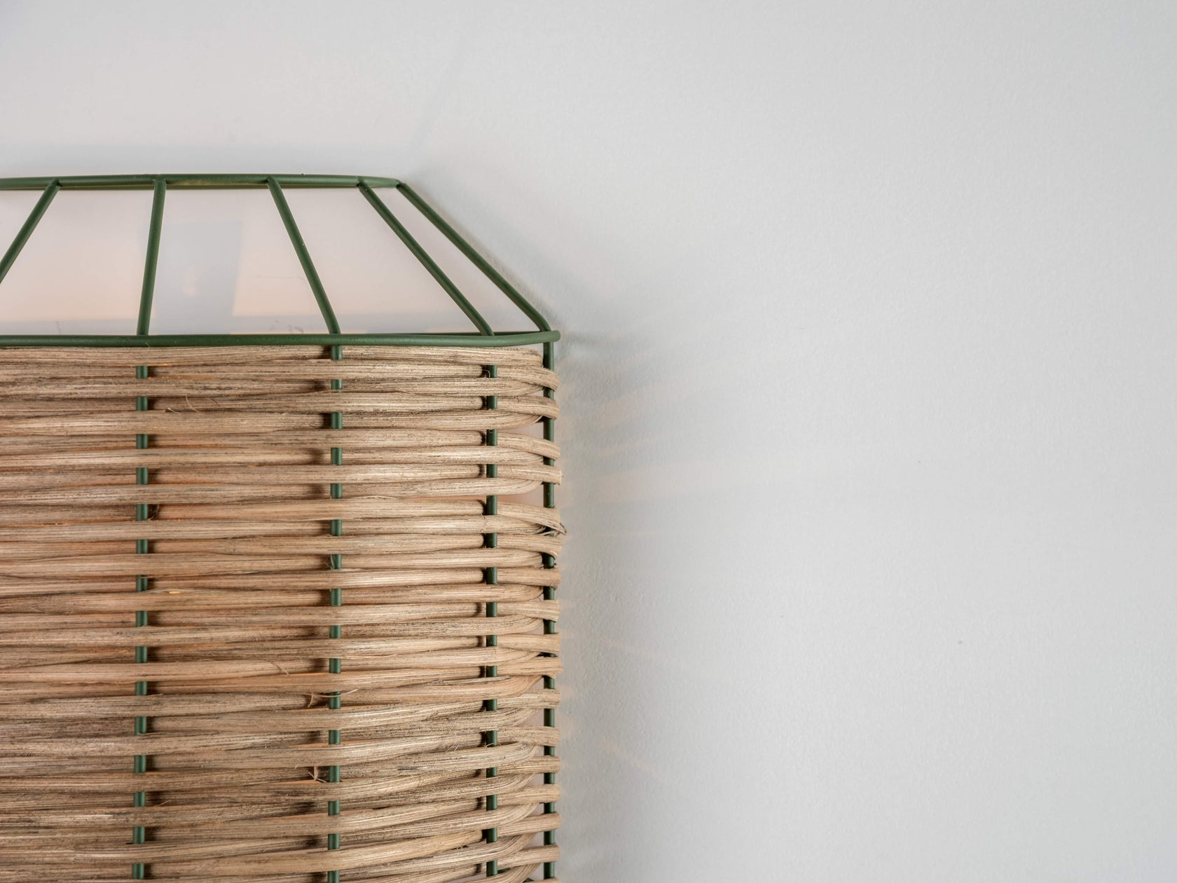 Rattan wall light olive | zoom | houseof.com