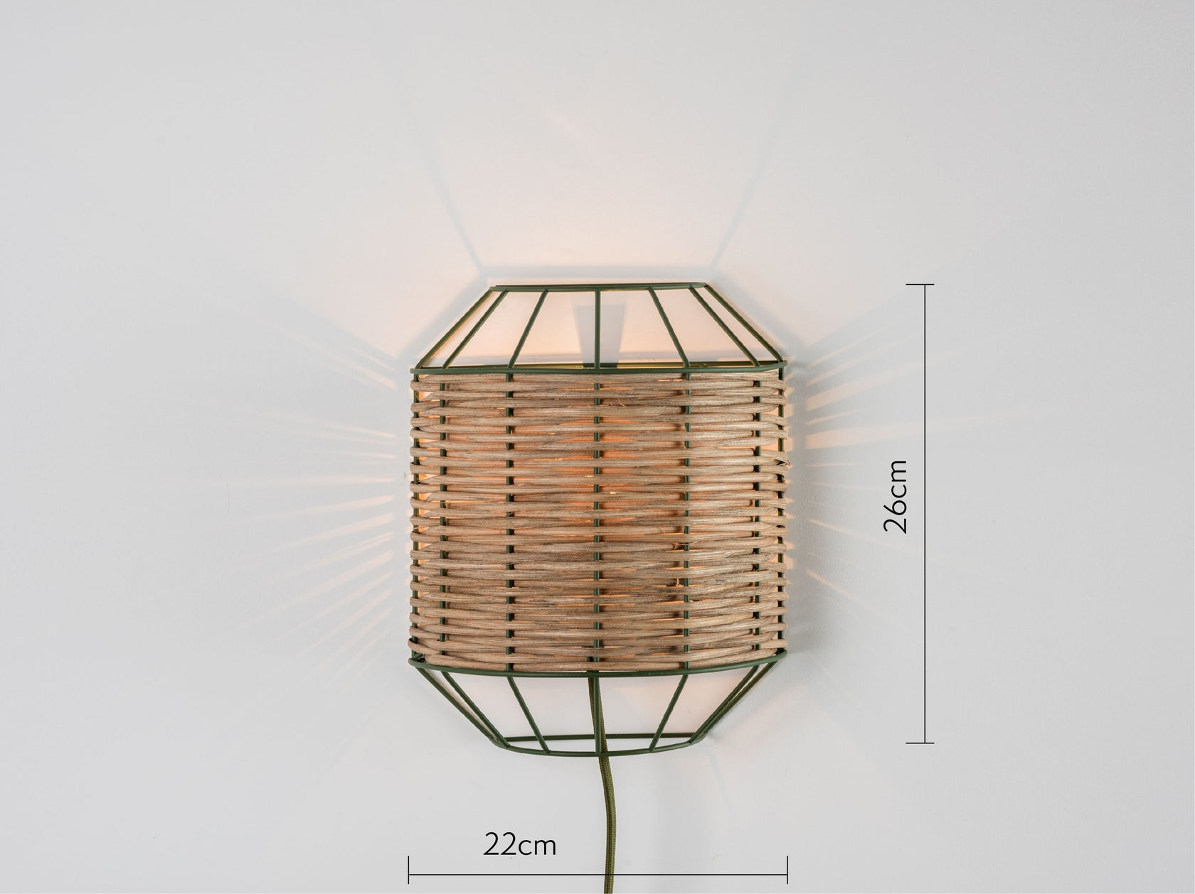 Rattan wall light olive | dimennsions | houseof.com