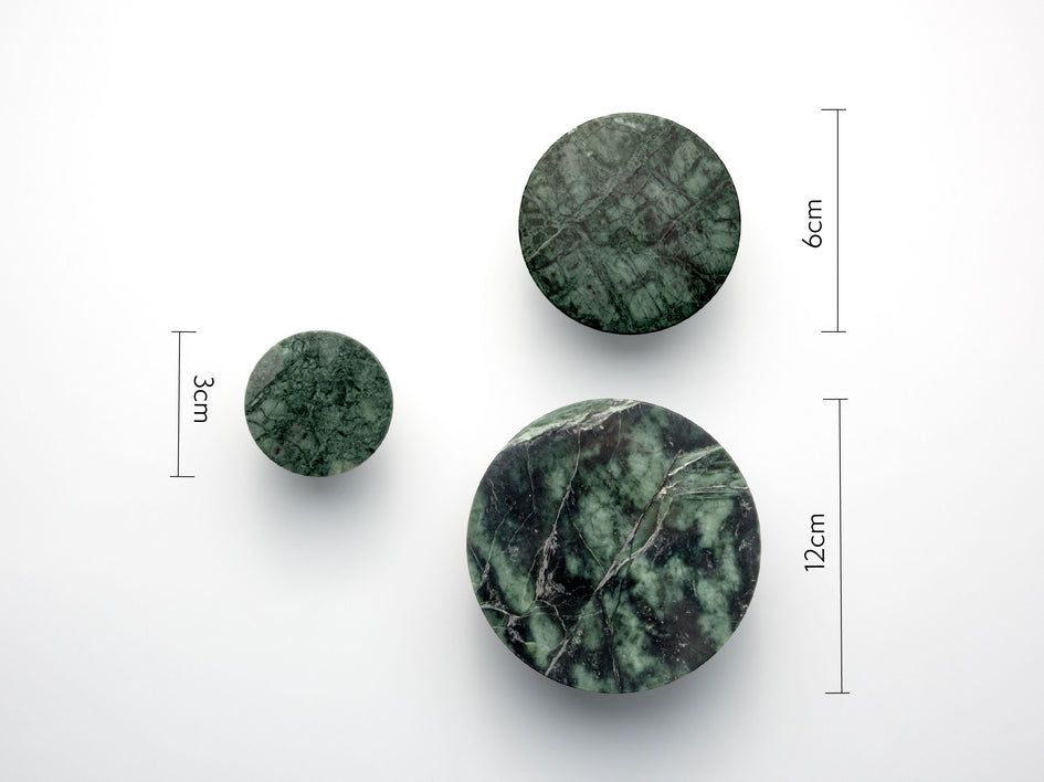 Set of marble hooks green | dimensions | houseof.com