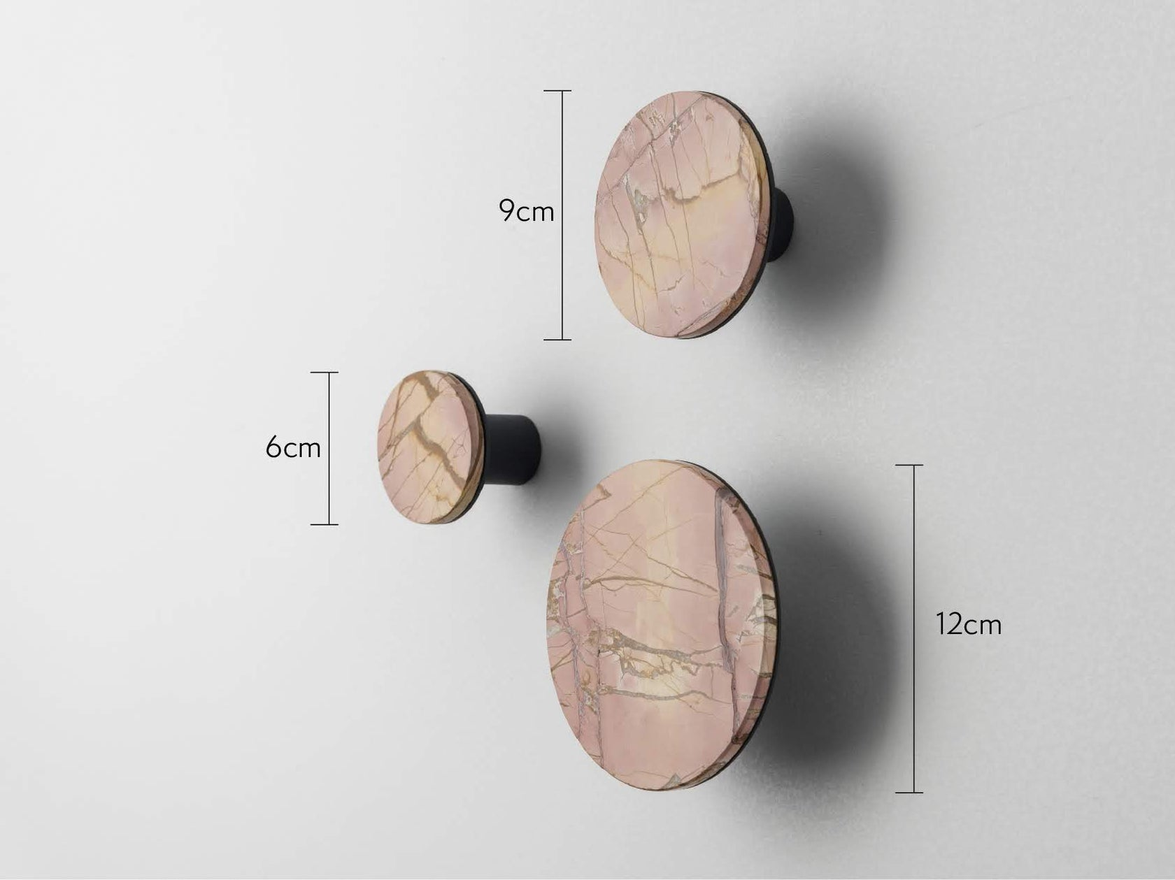 Set of marble hooks pink | dimensions | houseof.com