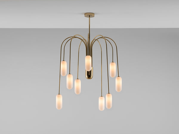 Vertical curve ceiling light brass | on | houseof.com