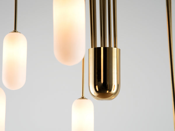 Vertical curve ceiling light brass | frame | houseof.com