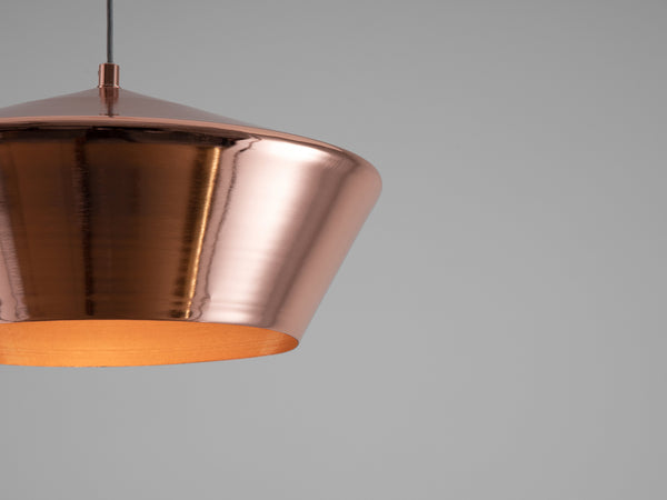 Wide metal diner pendant copper | detail | houseof.com