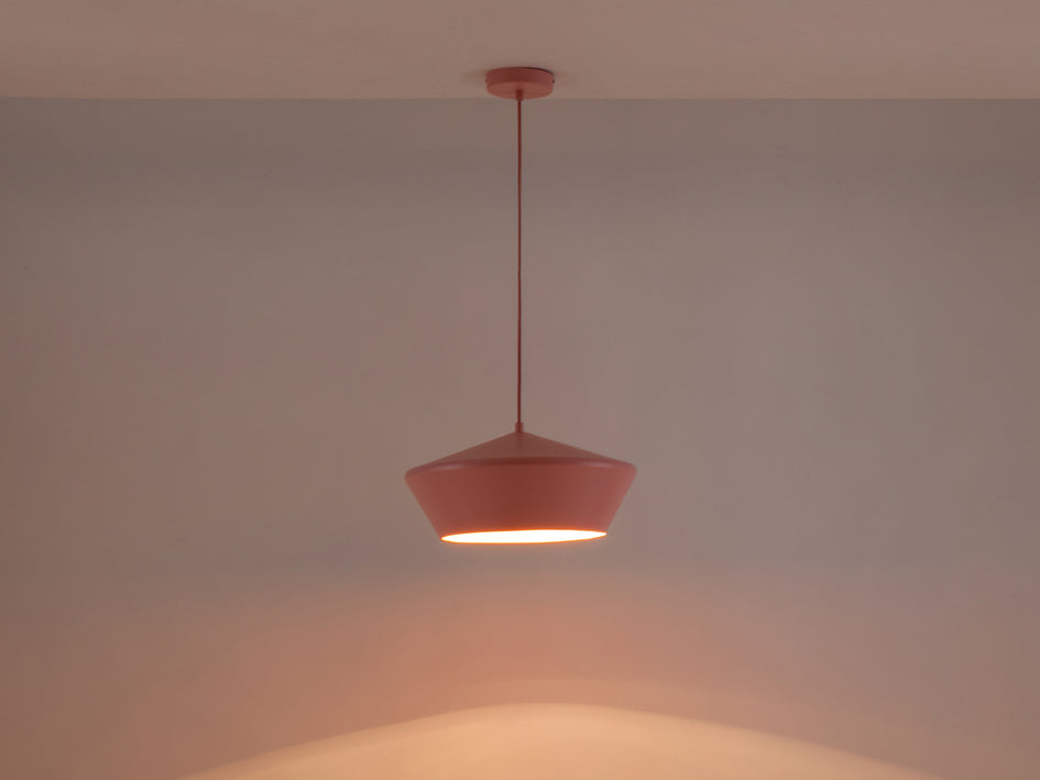 Wide metal diner pendant pink | dark | houseof.com