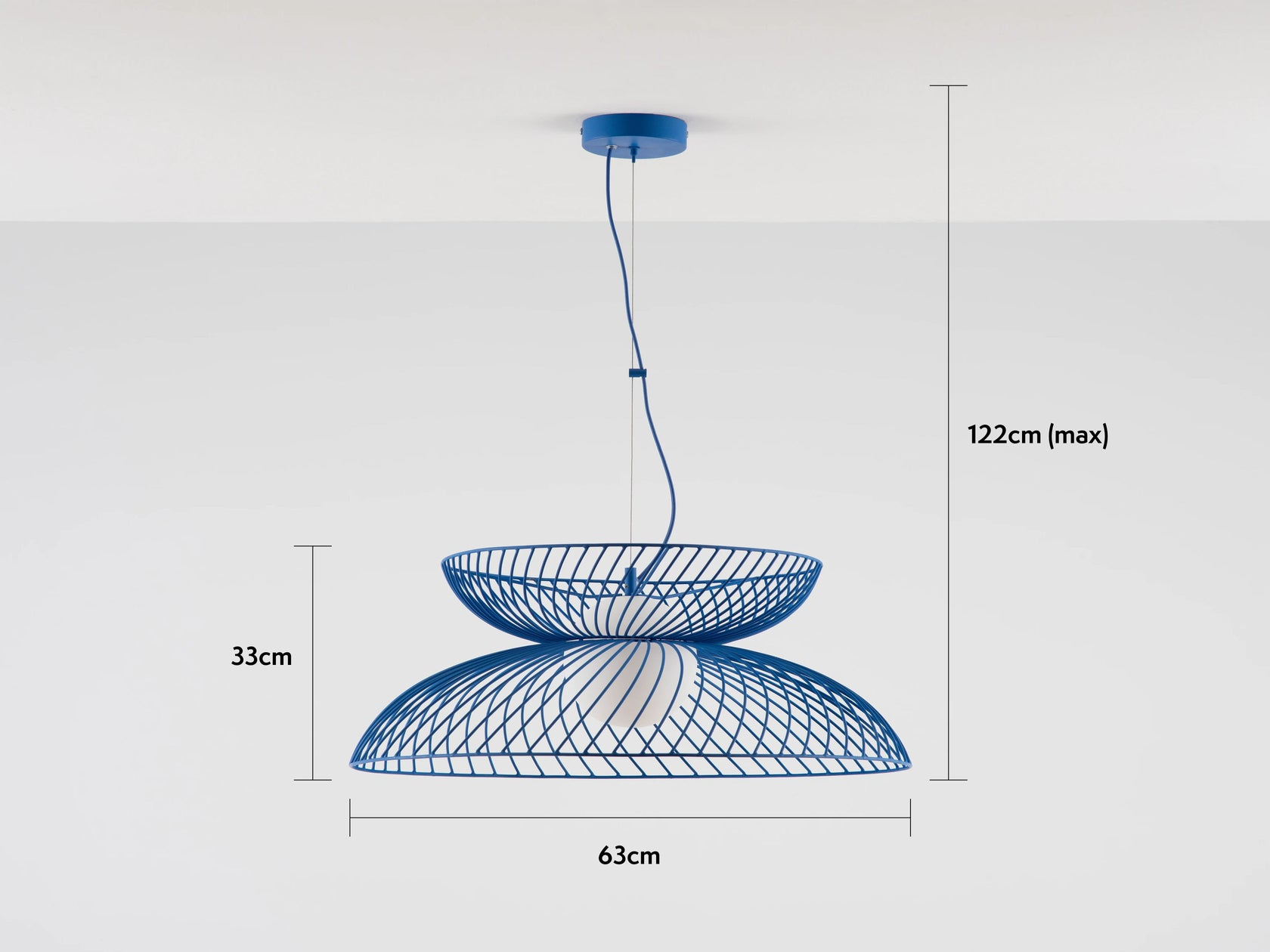 cage ceiling light blue
