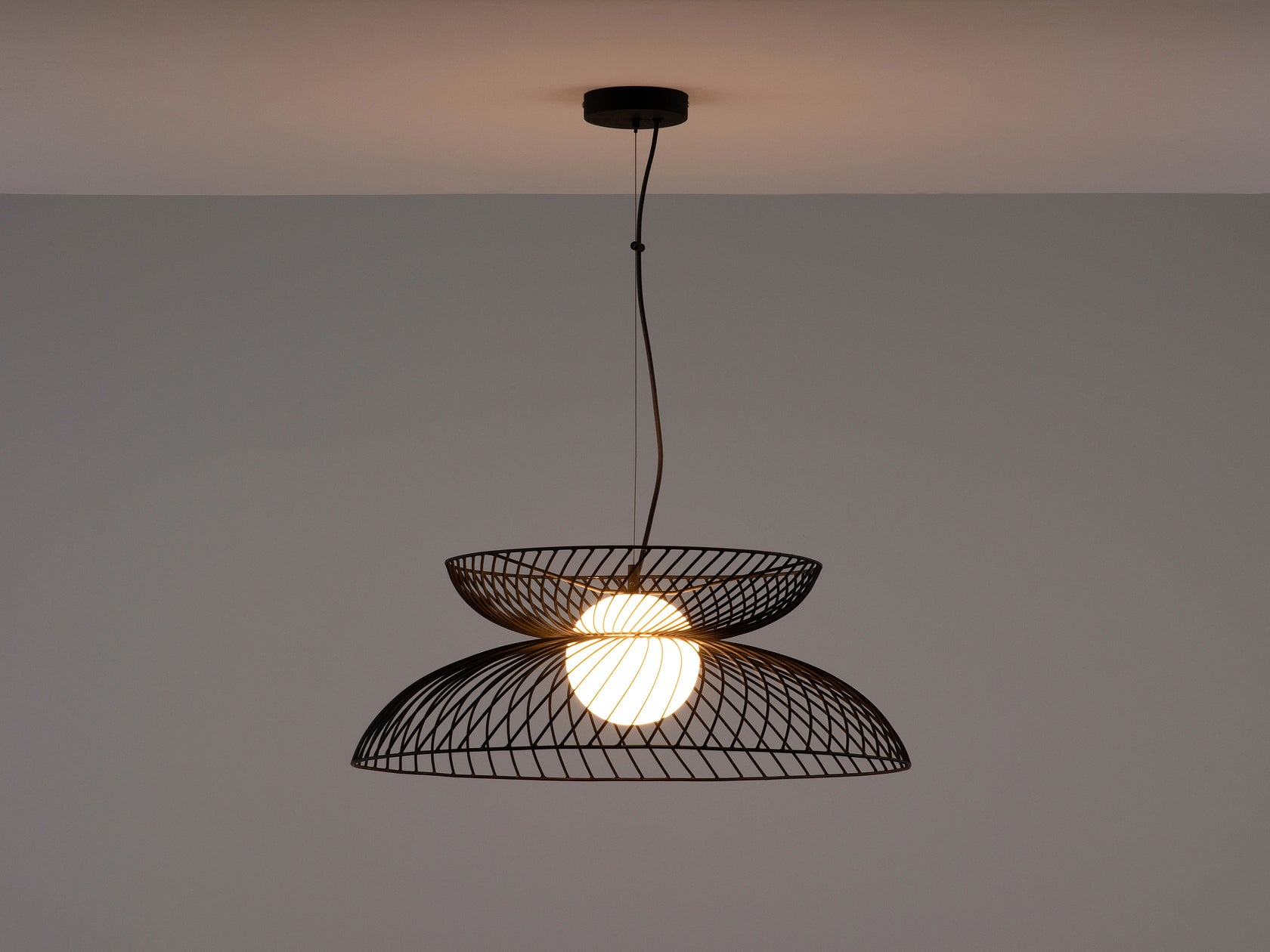 Charcoal grey cage ceiling light