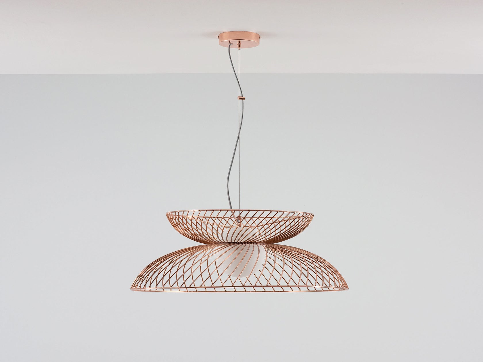 Copper cage ceiling light