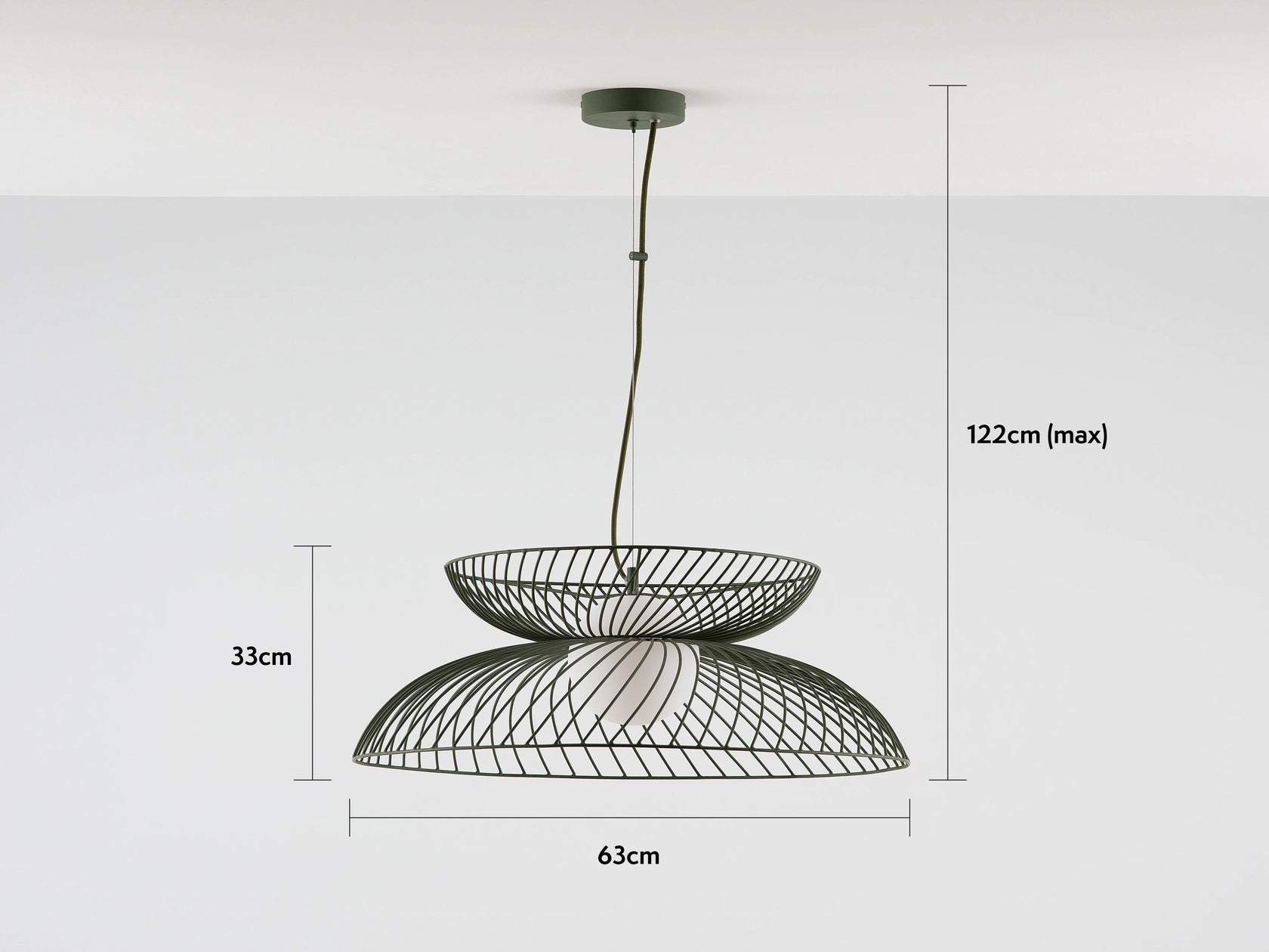 cage ceiling light olive