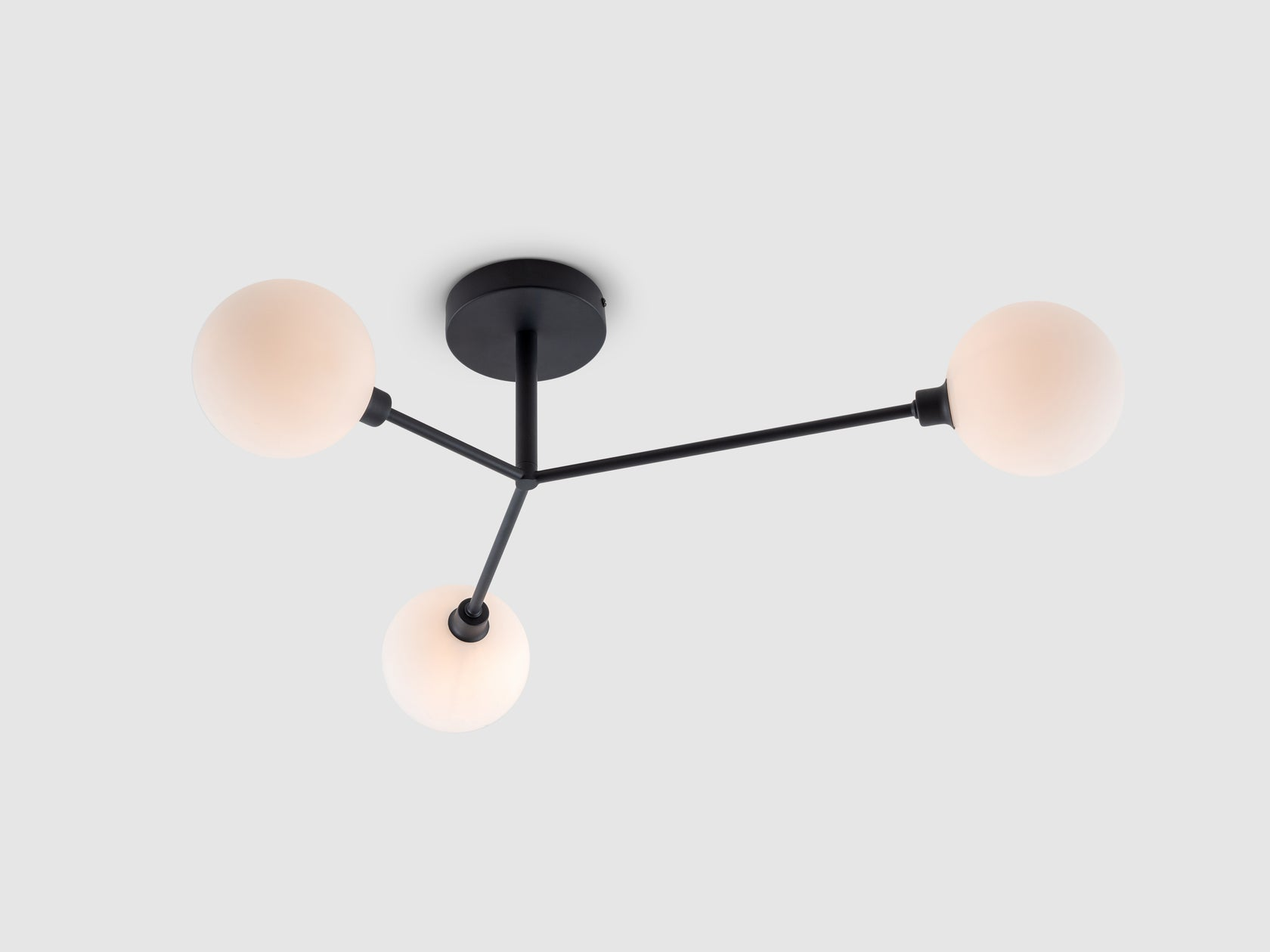 Charcoal grey 3 light flush ceiling light
