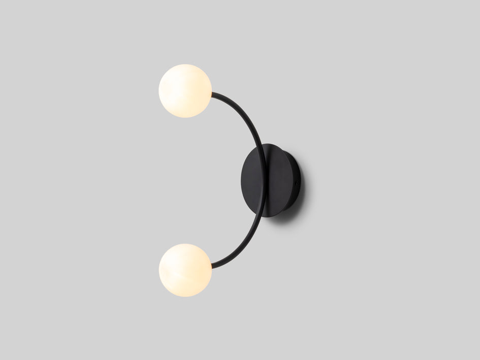 Charcoal grey curved opal ball wall light