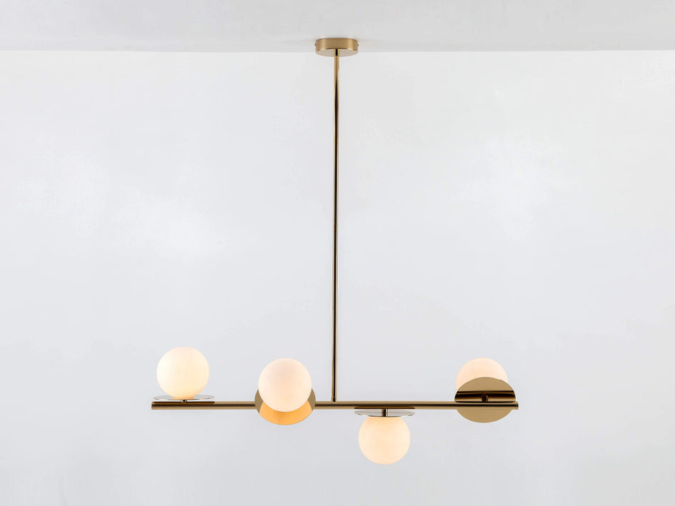 Brass opal disk ceiling light