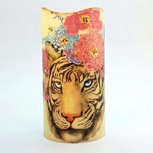 Load image into Gallery viewer, Floral Zebra and Tiger LED wax pillar candles - Candle Affair
