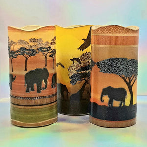 African print candles