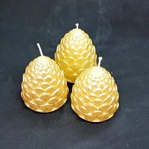 Small pillar candle - Pine cones - Set of 3 - Gold and silver colours [product_type] Candle Affair