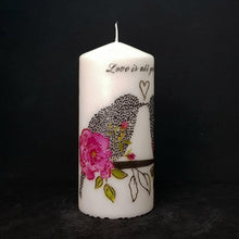 Load image into Gallery viewer, Large pillar candle Love Birds Wax pillar candle Candle Affair