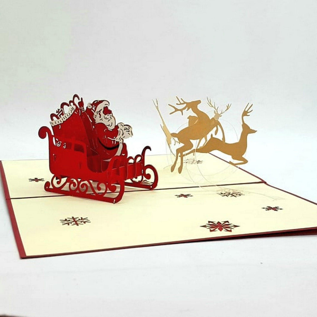 Christmas pop up greeting card - Santa's Red Sleigh [product_type] Candle Affair