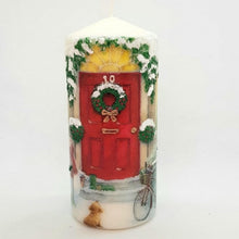 Load image into Gallery viewer, Red door Christmas pillar candle [product_type] Candle Affair