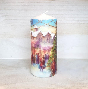 Vintage Christmas large pillar candle Wax pillar candle Candle Affair
